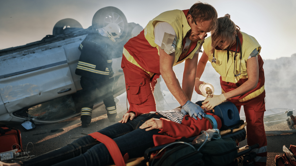 two medics in a car accident